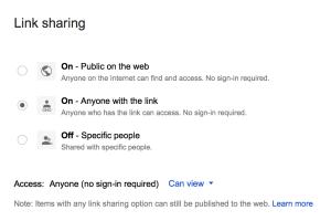 link sharing Google Drive