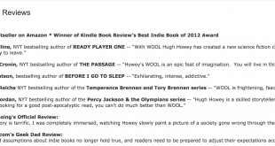 "Editorial Reviews for Hugh Howey's ""Wool"""