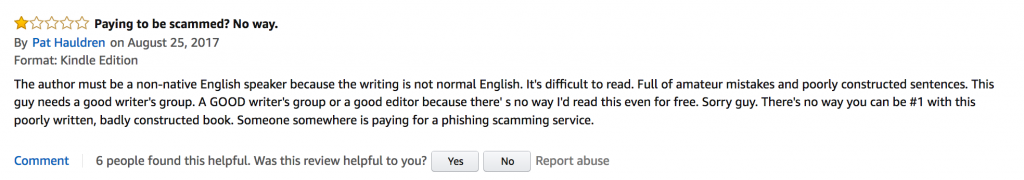 Fake one-star review written as a result of a cyberbullying campaign against Kayl